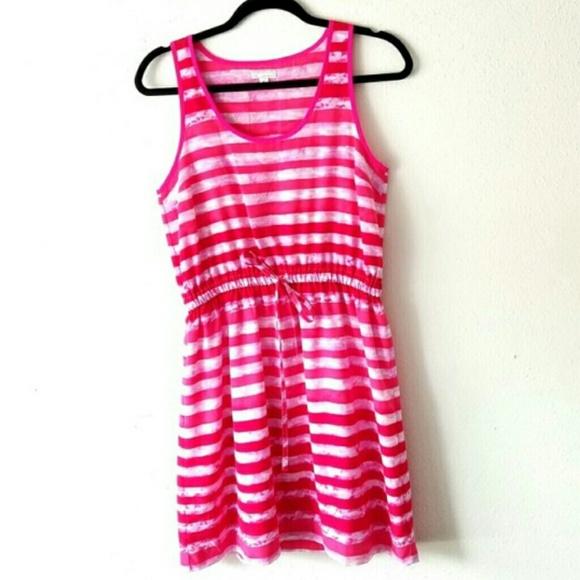 GAP Dresses & Skirts - GAP Hot Pink Striped Drawstring Tank Top Dress